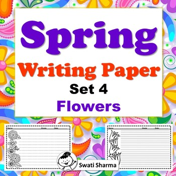 Spring, Writing Paper, Set 4, Flowers