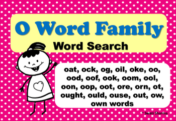 Short and Long O Word Family Word Search