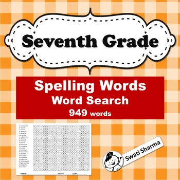 Seventh Grade Spelling Words, Word Search Worksheets