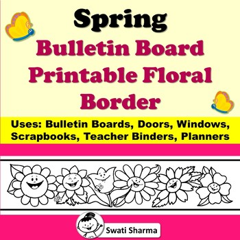 graphic regarding Printable Bulletin Board Borders called Spring Bulletin Board Joyful Bouquets Printable Border for Coloring
