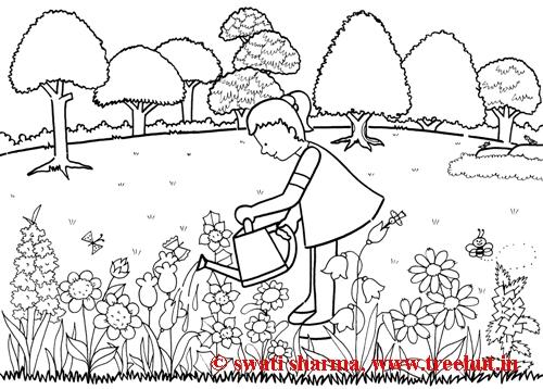 Garden Scene Coloring Page Sketch