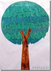 3D crepe paper tree craft