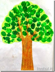 finger printing tree craft for toddlers