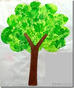 leaf printing tree art craft for preschoolers