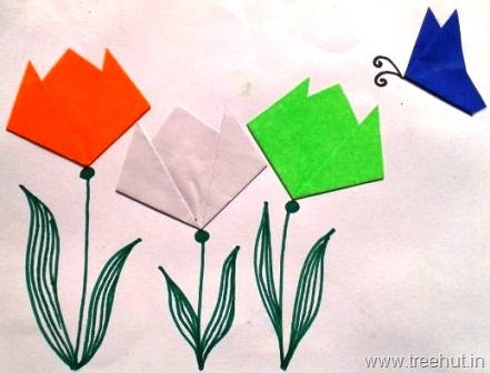 Easy Indian Flag Tri Colour Origami Tulips And Butterfly