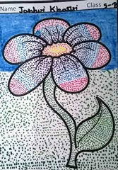 dot-art-flower by child Janhvi Khattri