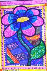 dot-art-flower by shreshtha lmgc lucknow indian child