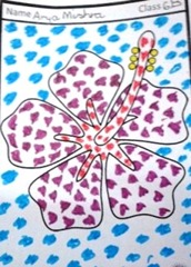 mosaic-art-flower mauve hibsicus by LMGC girl child