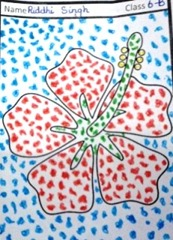 mosaic-art-flower red on blue