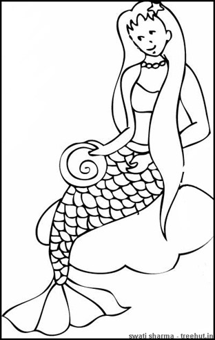mermaid sitting on a rock coloring page