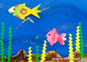 wax resist fish paper stencil craft idea