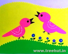 paper stencil bird pattern craft for kids