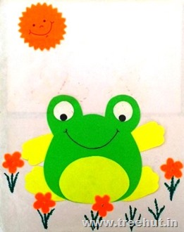 paper stencil for cute frog for preschool kids