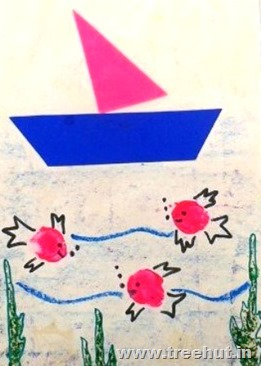 sail boat paper stencil pattern and thumb print fish for art idea