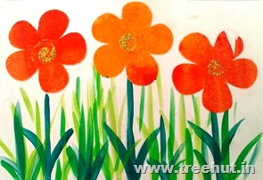 art idea for therapy paint smudge printing flowers