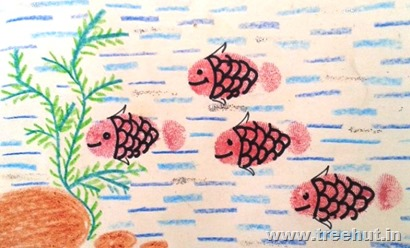 art idea thumb printing fish greeting card