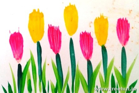Easy painted flowers art ideas for kids for Simple watercolor paintings for kids