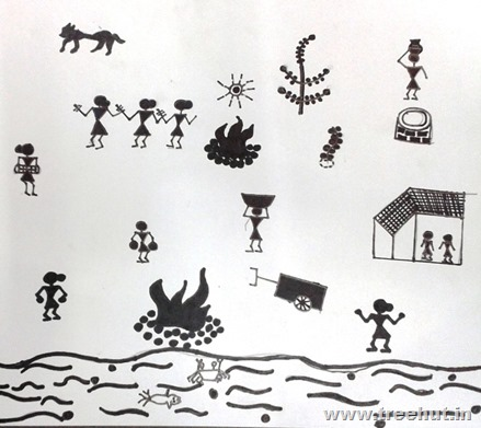 Warli Child art by Yuvraj Study Hall Lucknow India