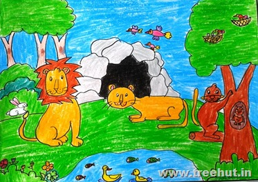 gir lions Child art by Kinjal Rastogi Study Hall Lucknow India