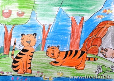 save tiger Child art by Keshav Study Hall Lucknow India