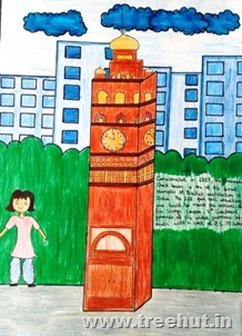 Hussainabad Clock tower Lucknow in art by child Saima Siddiqui Study Hall school India
