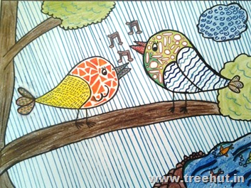Singing birds in child art by Prisha Lucknow India