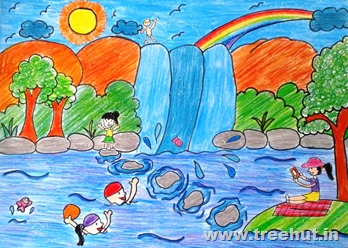 Waterfall scene child art Mridu