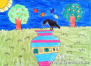 Child art by Juhi Agarwal Lucknow India Crow and pebble story