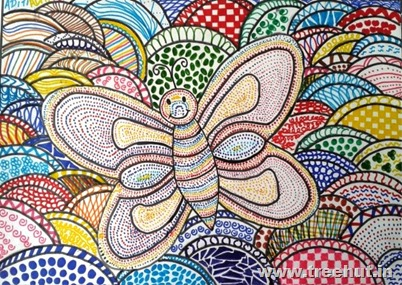 Butterfly in pattern art technique by child Aditi Jalan Lucknow India
