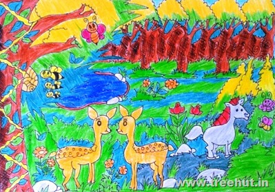 Jungle scene by child artist Deepanshi Verma Lucknow India