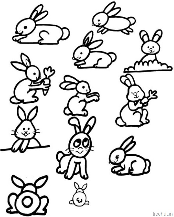 cute bunny coloring pages to print - cute bunny rabbits coloring pictures