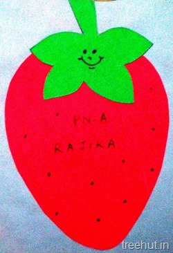 strawberry fruit name tag for school children 13