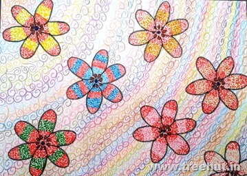 Floral pattern art by child Insha Amir
