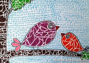 Mosaic art birds by child Vandita Singh Lucknow Uttar Pradesh India