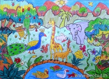 Jungle scene by child Surbhi Verma Study Hall Lucknow India