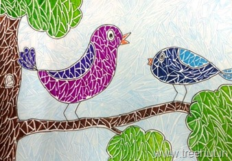 Mosaic art birds by child Pakhi Singh Study Hall Lucknow India