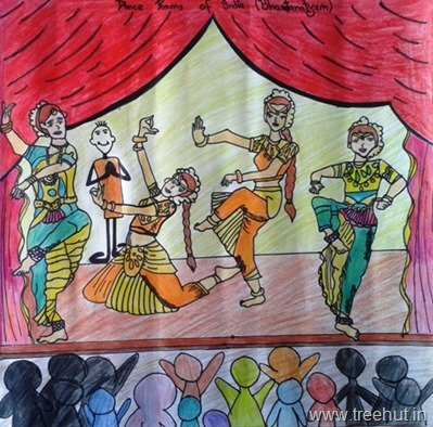 Bharatnatyam dancers in art by child Hitakshi Tewari Study Hall school Lucknow India
