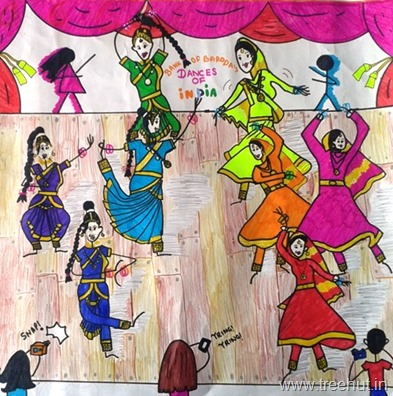 Kathak and Bharatnatyam dancers in art by Paridhi Arya India