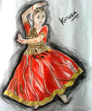 Kathak dance in art by Vandita Singh India