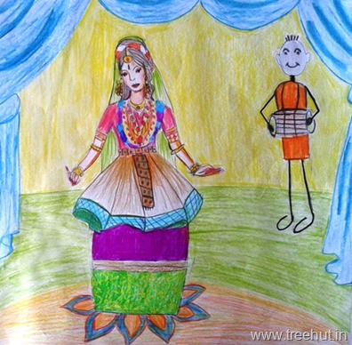 Manipuri dancer art by Diya Kaul
