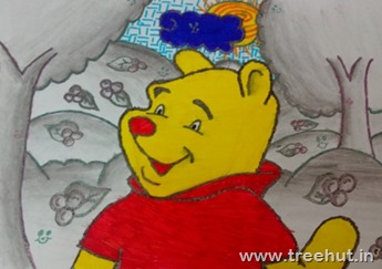 Winnie the Pooh art by Bhavya Singh class 5B Study Hall school Lucknow India