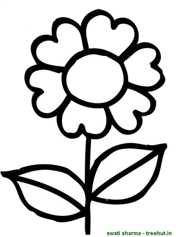 Simple flower coloring page for Easy flower coloring pages