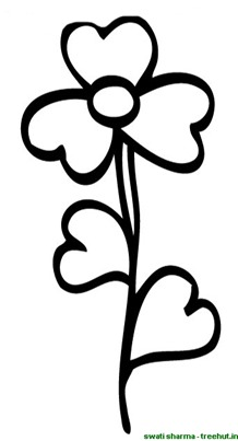 three petalled flower coloring page
