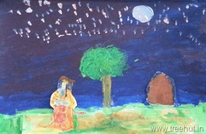 Night sky art work by Sara Bhargava Loreto Convent Lucknow India daughter of Nitin and Shweta Bhargava
