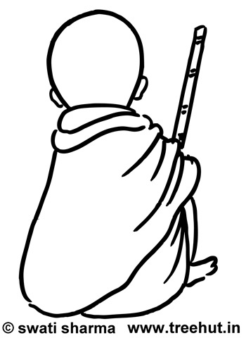 gandhiji standing coloring pages - photo#43