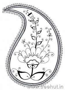 Paisley pattern coloring page for art therapy for corporates