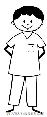 Standing Happy Boy Coloring Page
