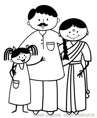 Karnataka India Family Coloring Page
