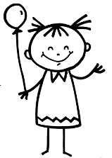 girl holding balloon coloring page for preschoolers