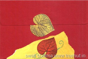 Mail art envelope back leaf printing and collage idea